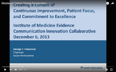 Presentation Made to the Institute of Medicine About Structured Culture Change in Large Health Care Organizations